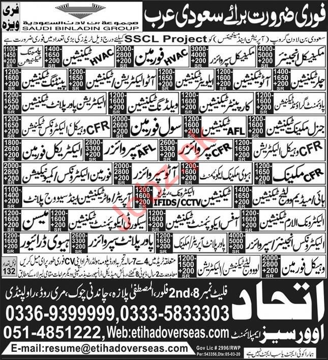 Technical Staff Jobs SSCL Project Suaid Arabia