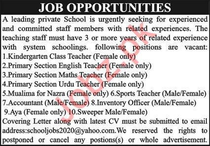 School Staff Jobs 2020 in Quetta Balochistan