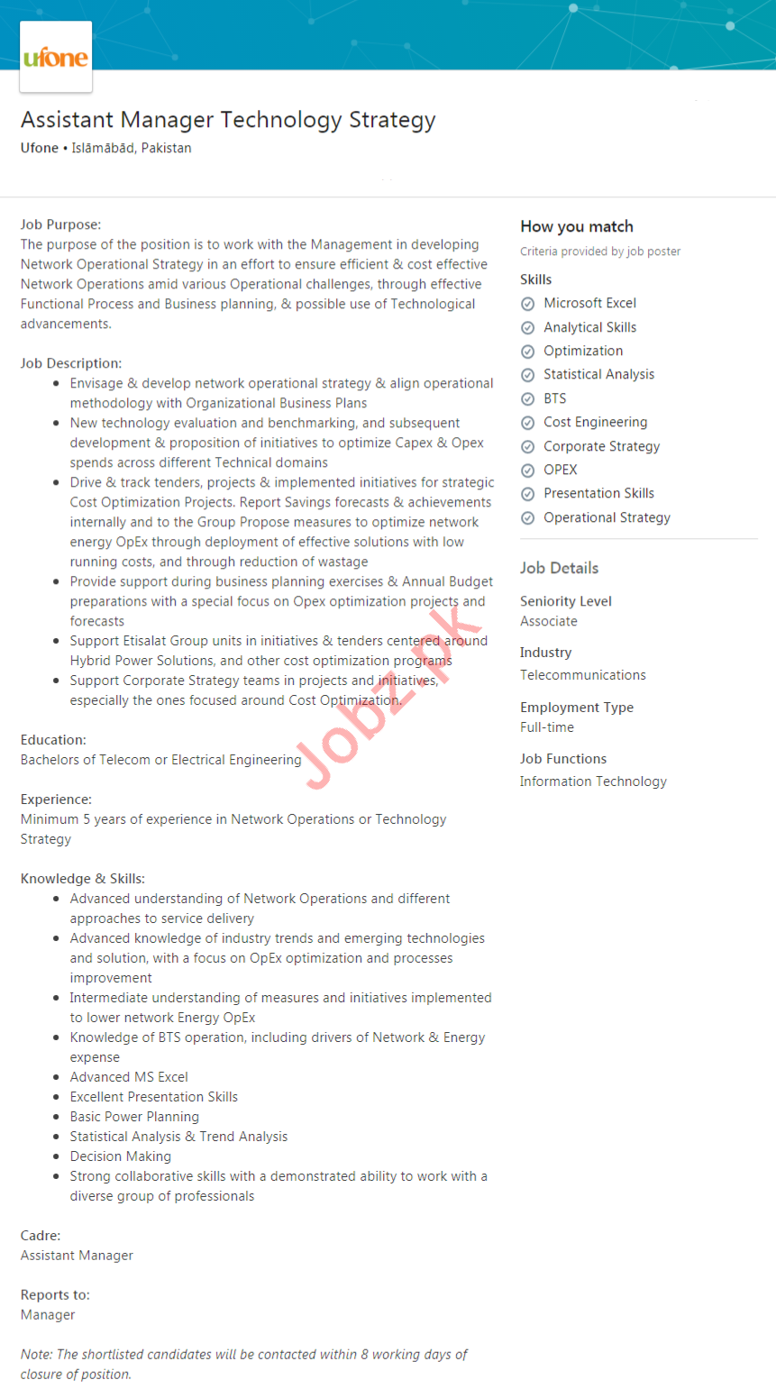 Assistant Manager Technology Strategy Job 2020 in Islamabad