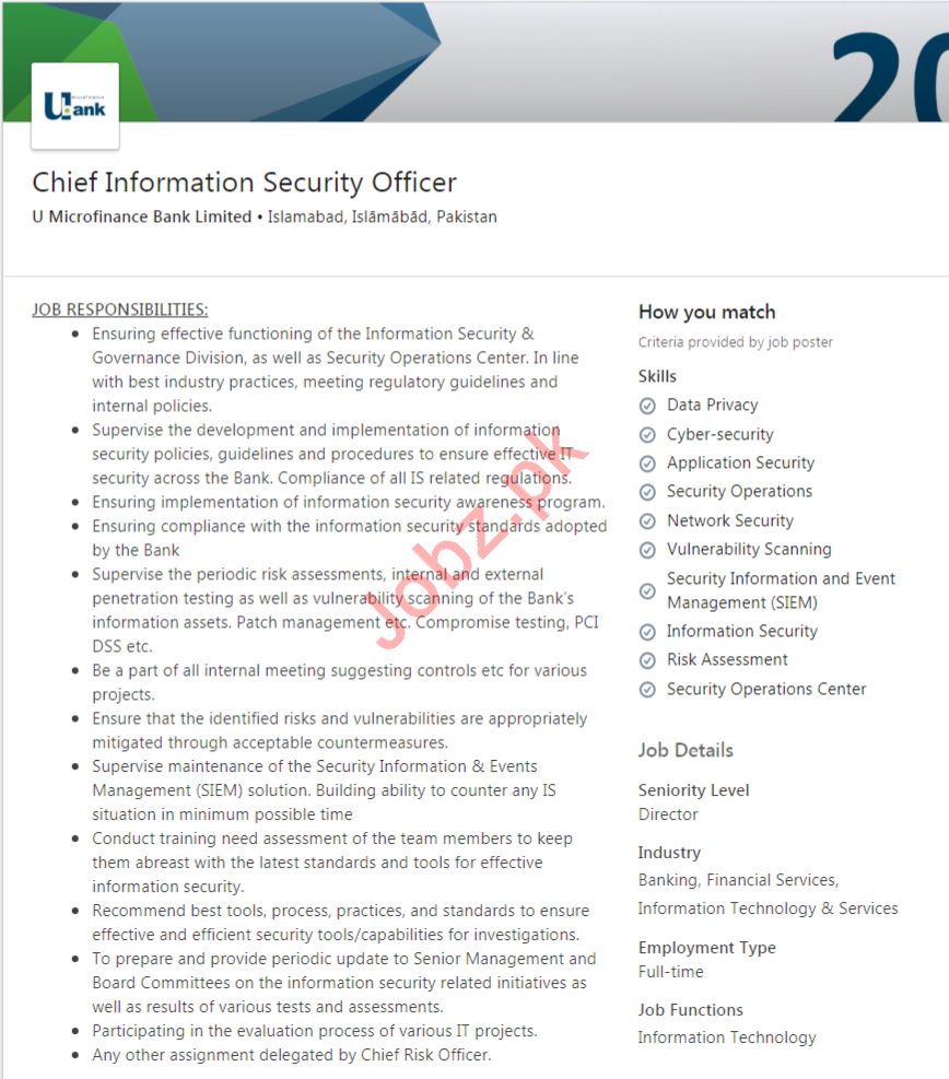 Chief Information Security Officer Job 2020 in Islamabad