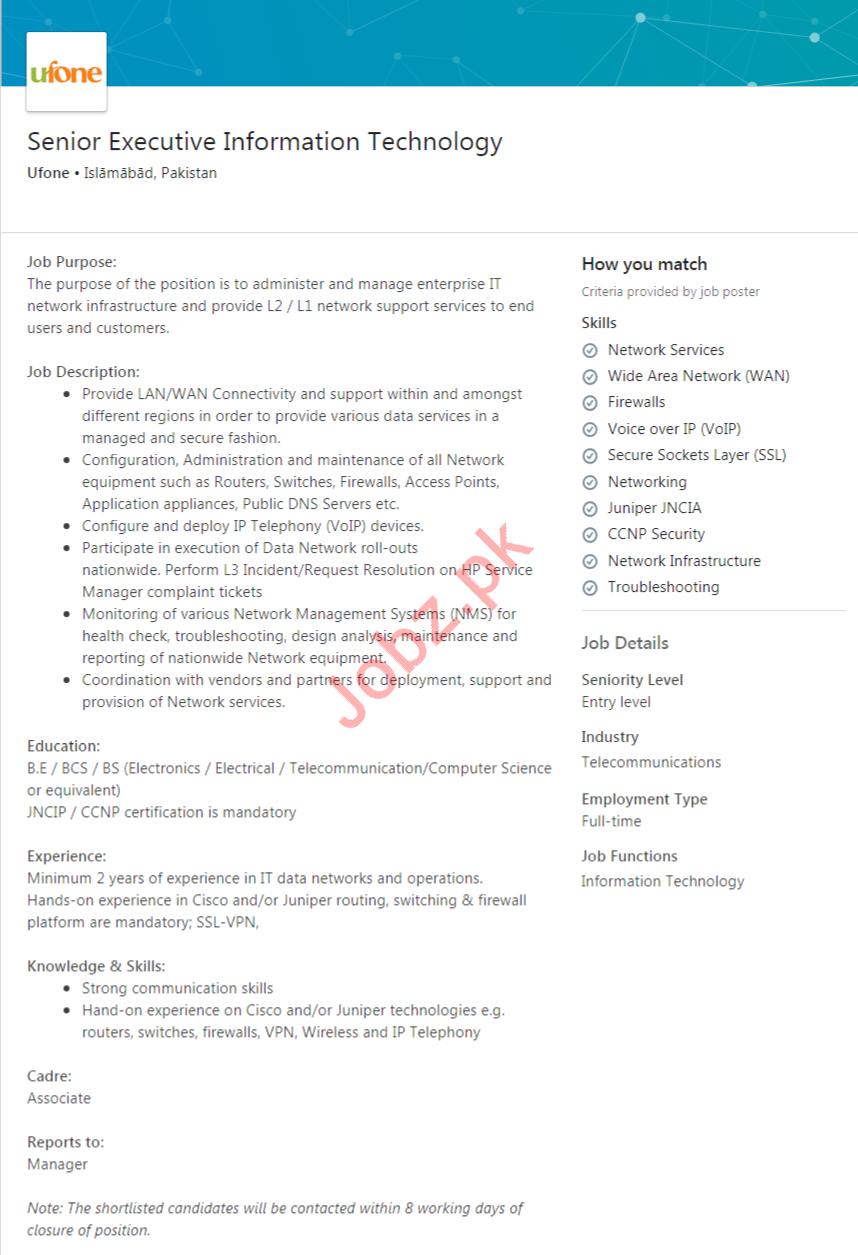 Senior Executive Information Technology Job in Islamabad