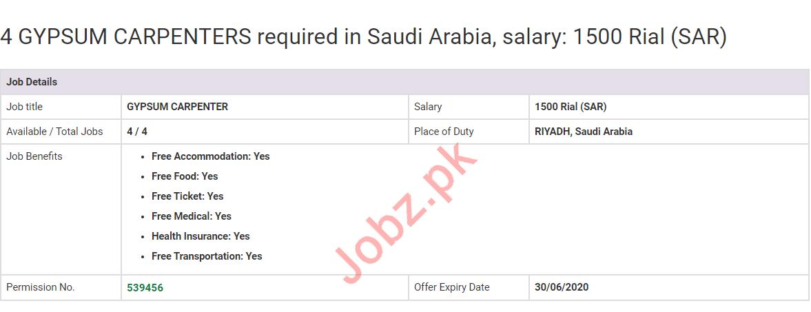 Gypsum Carpenters Jobs 2020 in Riyadh Saudi Arabia