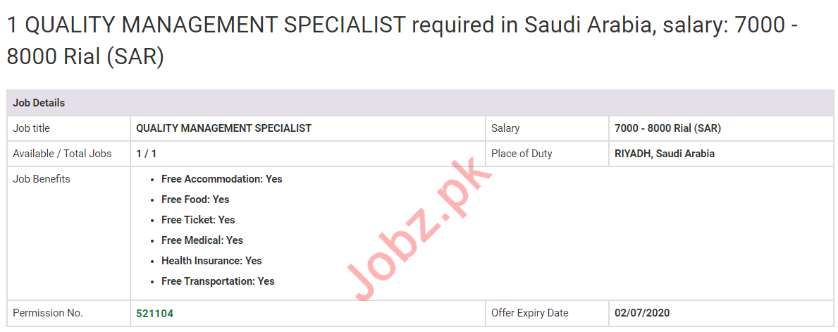 Quality Management Specialist Jobs 2020 in Saudi Arabia