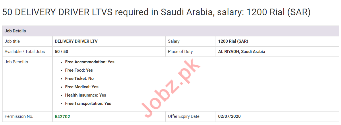 Delivery Driver & LTV Driver Jobs 2020 in Saudi Arabia