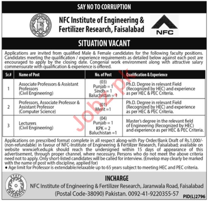 NFC Institute of Engineering & Fertilizer Research Jobs 2020
