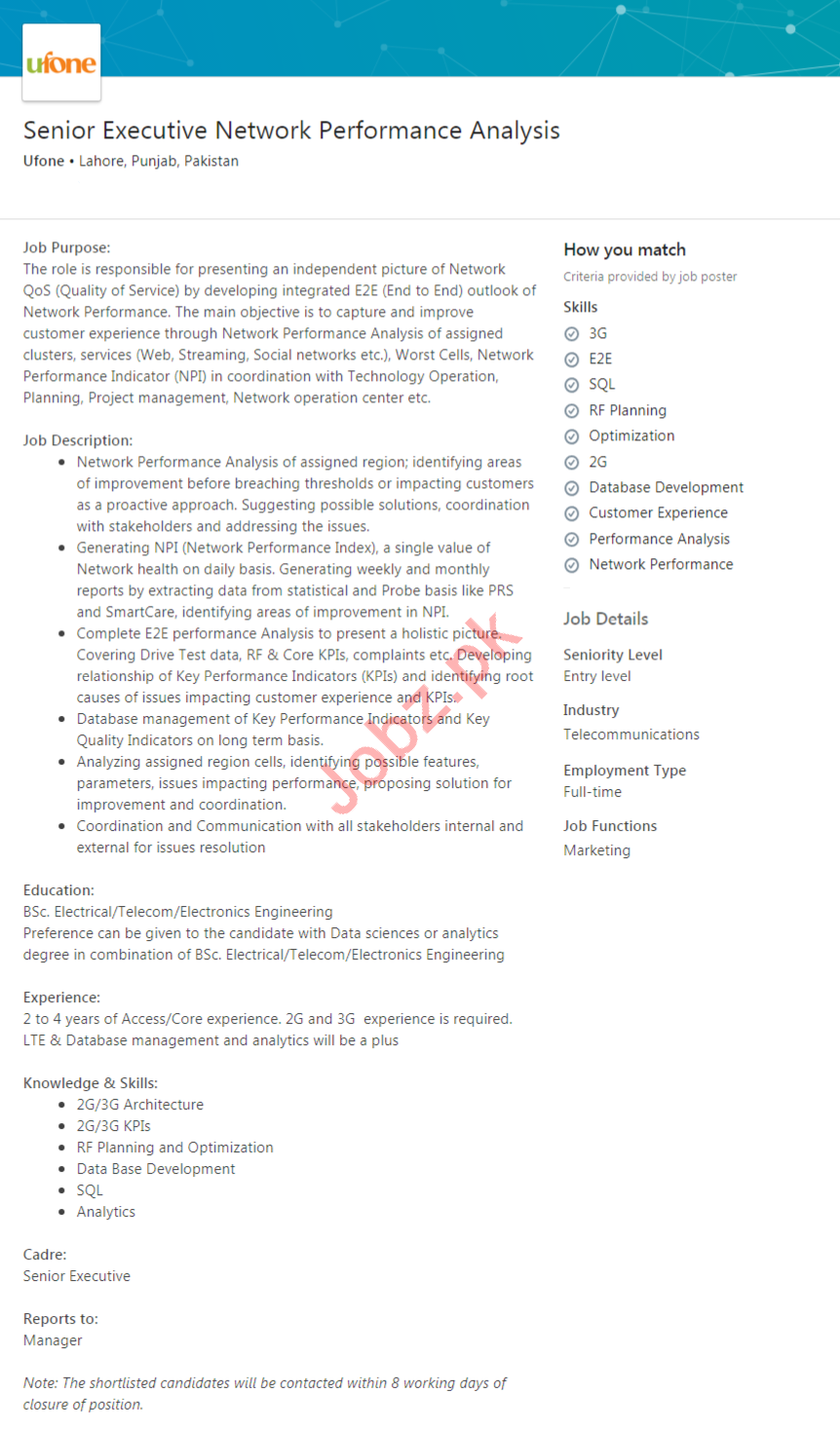 Executive Network Performance Analysis Jobs in Ufone
