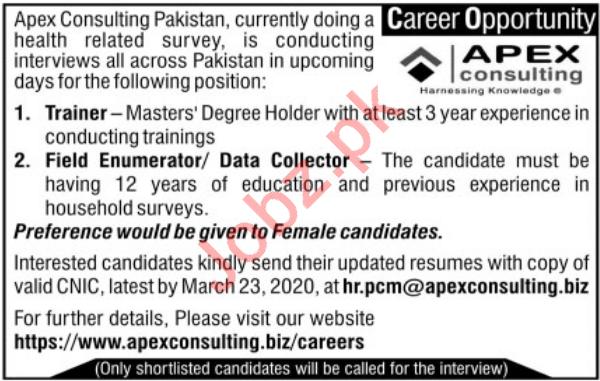 Apex Consultancy Pakistan Management Jobs 2020
