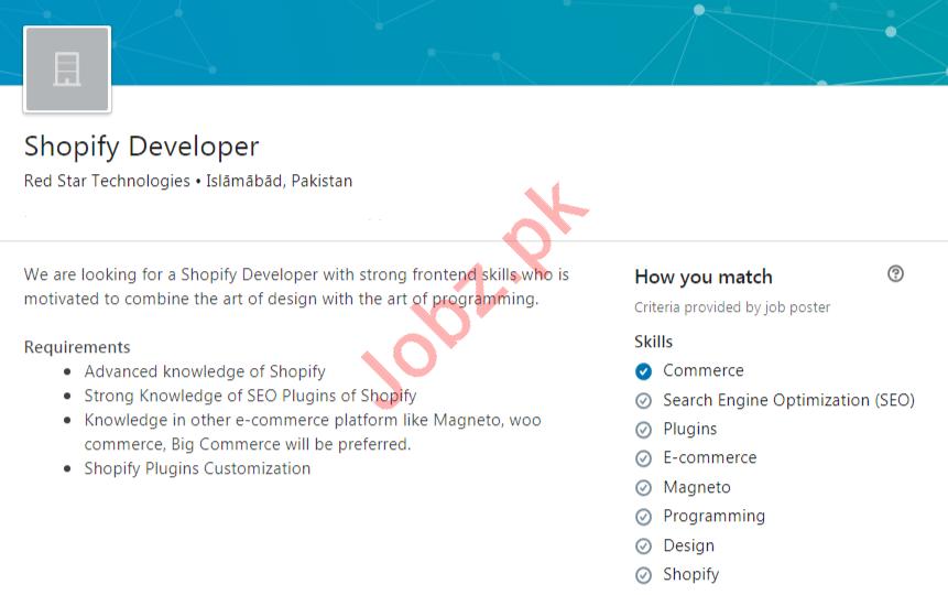 Red Star Technologies Islamabad Jobs 2020 Shopify Developer