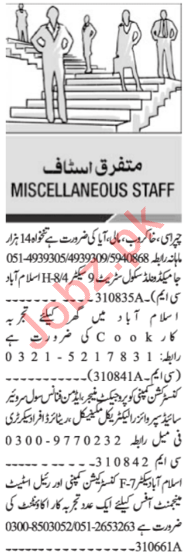 Daily Jang General Staff Jobs 2020 in Islamabad