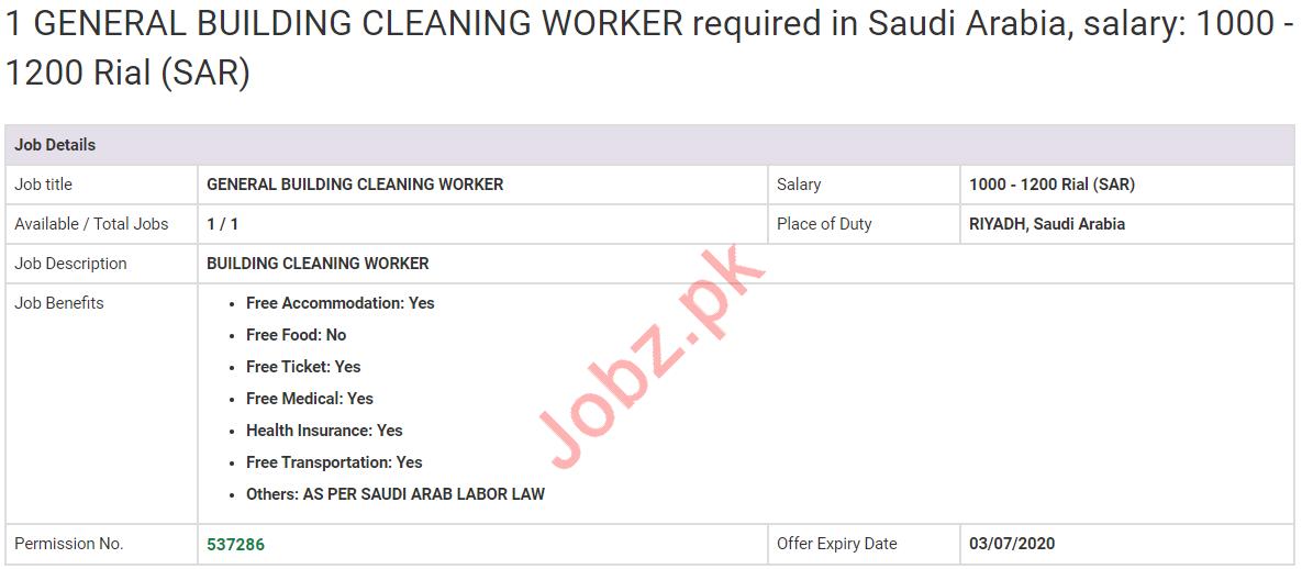 General Building Cleaning Worker Job 2020 in Saudi Arabia