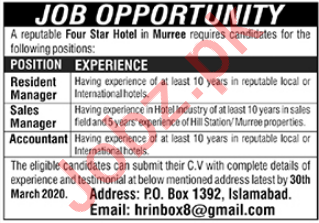 Four Star Hotel Jobs 2020 in Murree