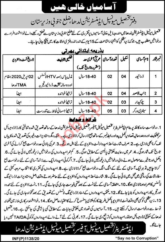 Tehsil Municipal Administration Jobs in South Waziristan