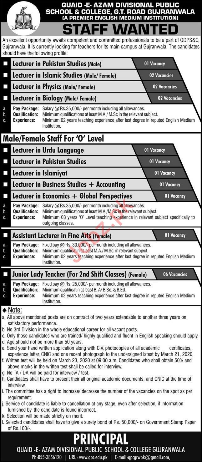 Quaid e Azam Divisional Public School & College Jobs 2020
