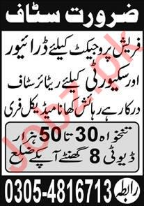 Driving & Security Staff Jobs 2020 in Islamabad