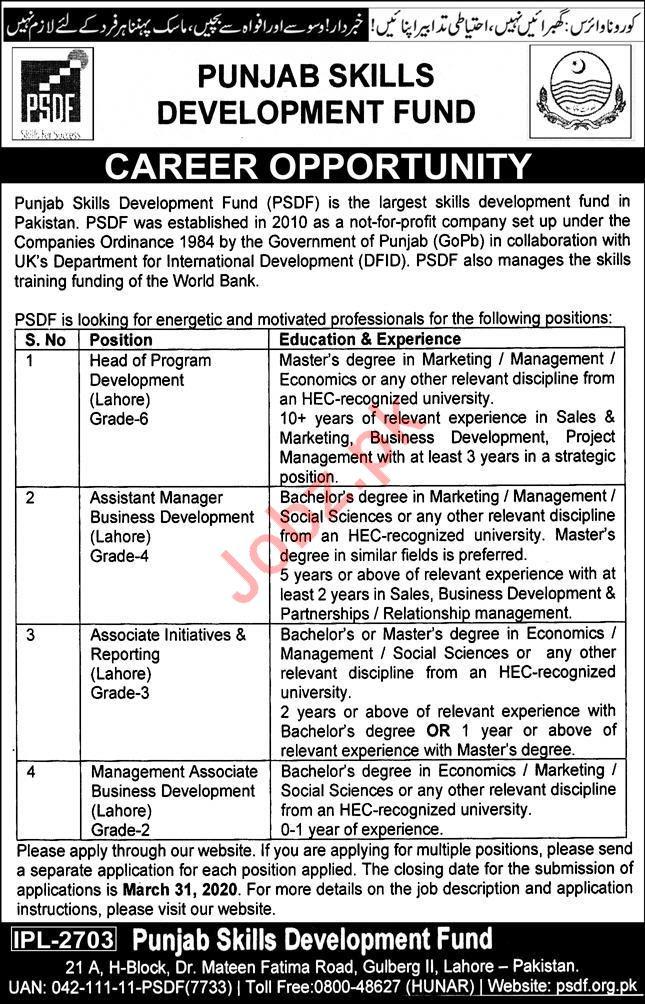 Punjab Skills Development Fund PSDF Jobs 2020 in Lahore