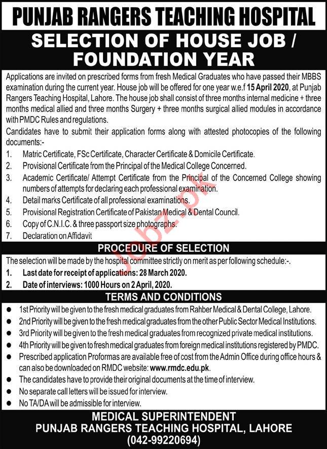 Punjab Rangers Teaching Hospital Jobs 2020 in Lahore