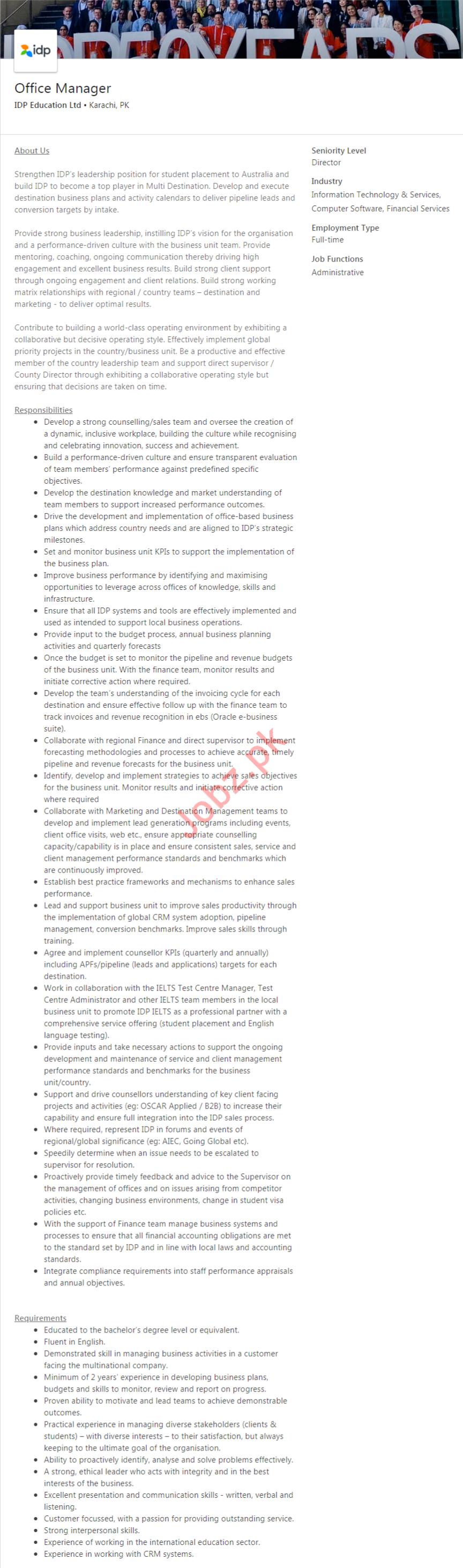 Office Manager Job 2020 in Karachi