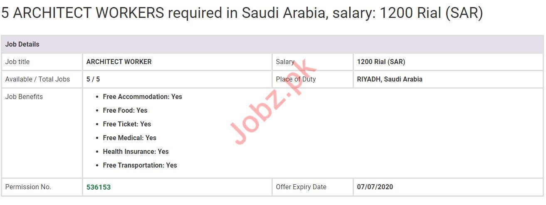Architect Worker Jobs in Riyadh Saudi Arabia
