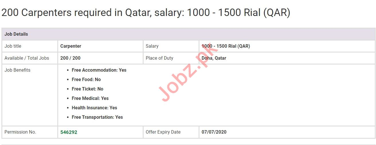 Carpenter Jobs in Doha Qatar