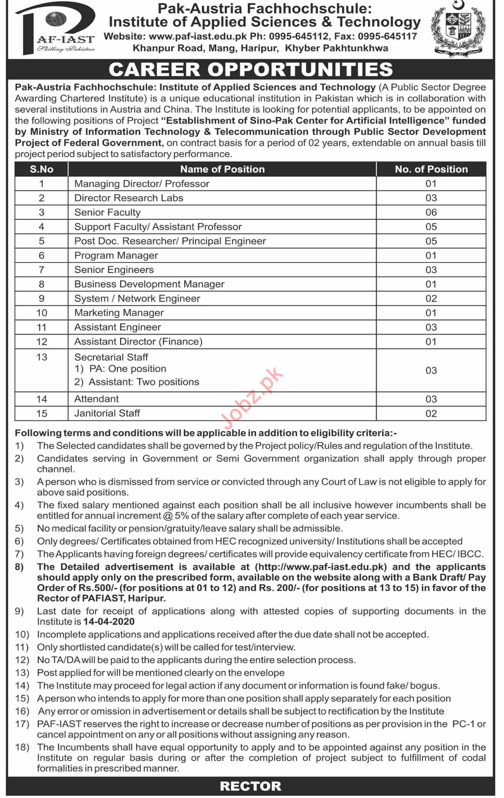 PAF IAST Institute of Applied Science & Technology Jobs 2020