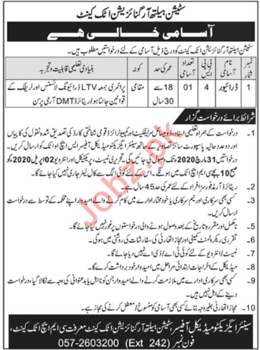 Pak Army Station Health Organization SHO Jobs 2020
