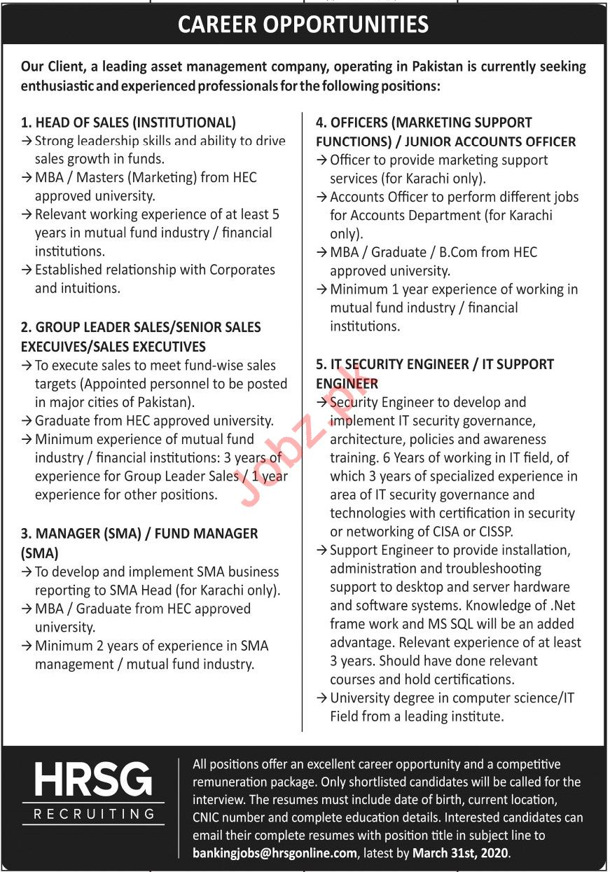 HRSG Recruiting Company Jobs 2020