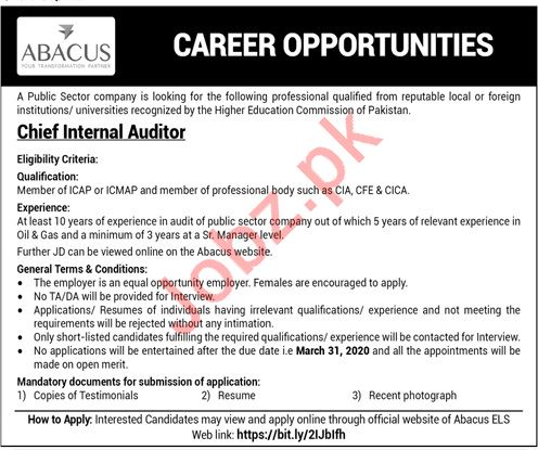Public Sector Company Job 2020 For Chief Internal Auditor