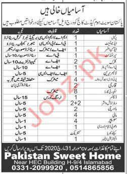 Pakistan Sweet Home Cadet College Islamabad Jobs 2020