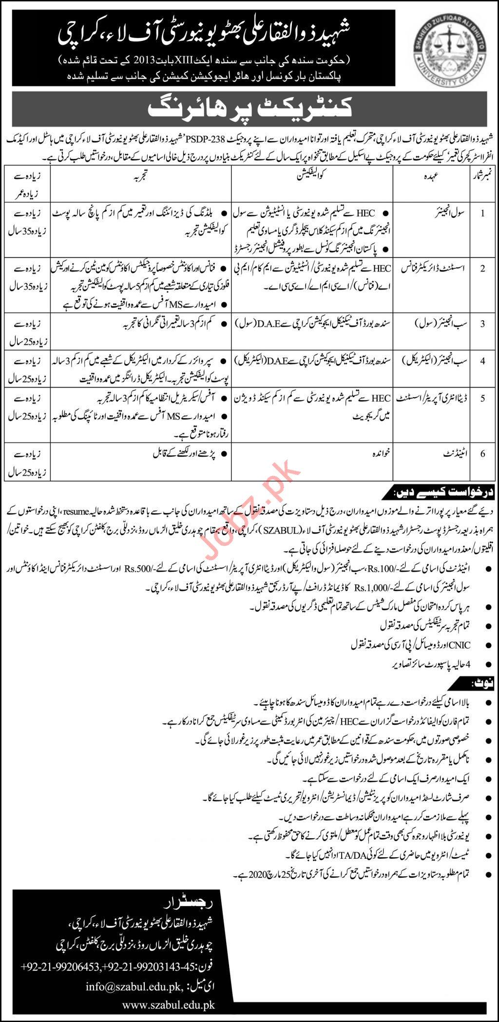 Shaheed Zulfiqar Ali Bhutto University of Law Jobs 2020