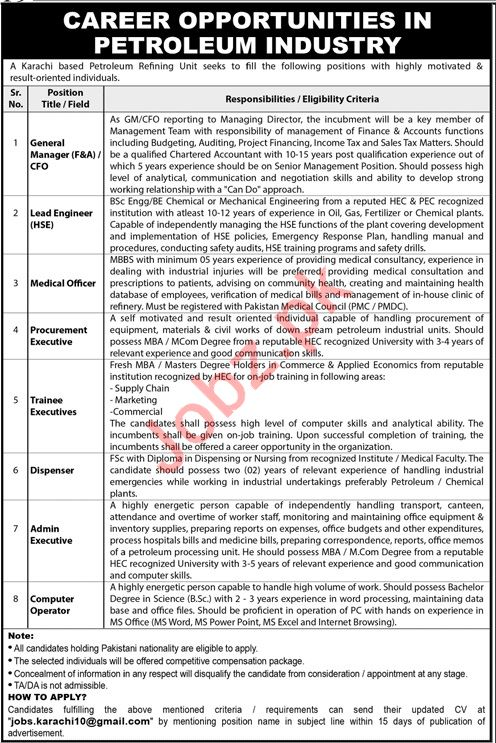 Petroleum Refining Unit Management Jobs 2020