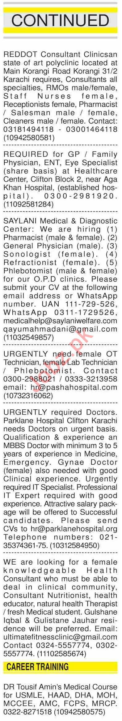 Dawn Sunday Classified Ads 15th March 2020 for Medical Staff