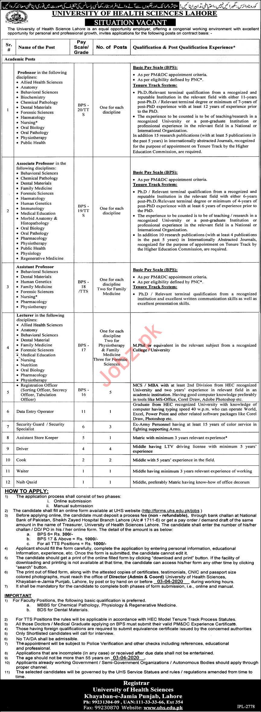 University of Health Sciences UHS Jobs 2020 in Lahore
