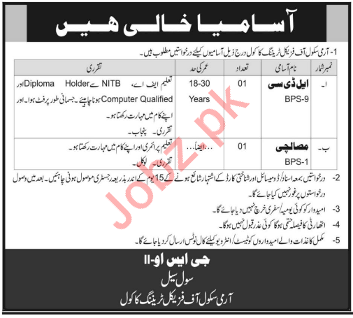 Pakistan Army School of Physical Training Jobs 2020