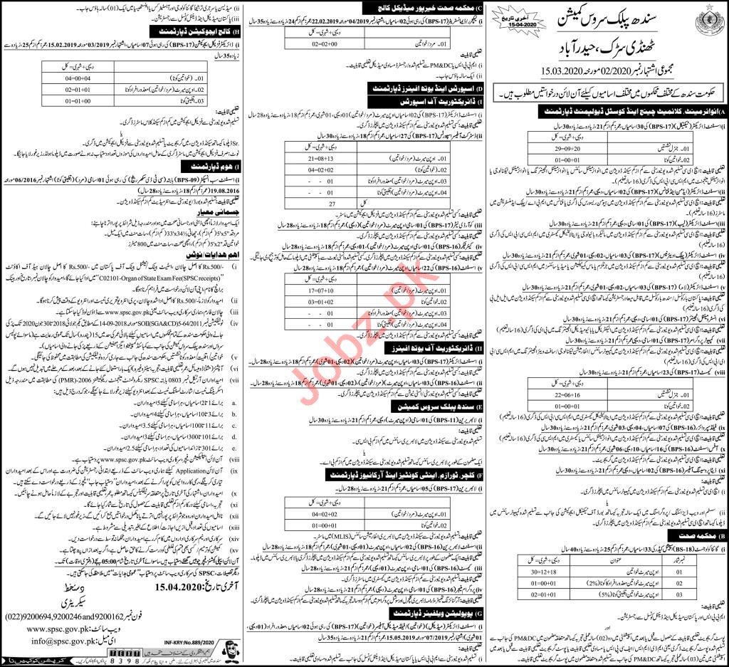 Sindh Public Service Commission SPSC April Jobs 2020