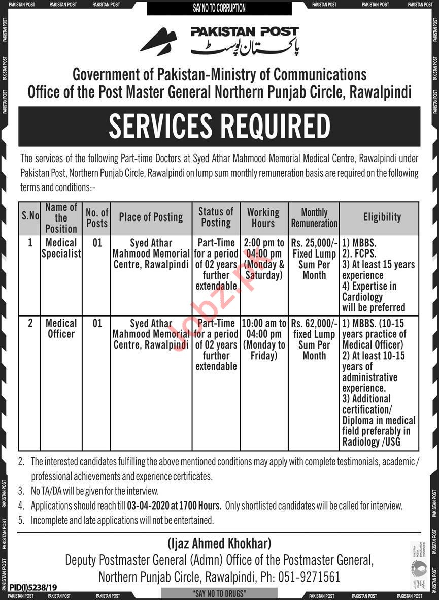 Pakistan Post Ministry of Communications Jobs 2020