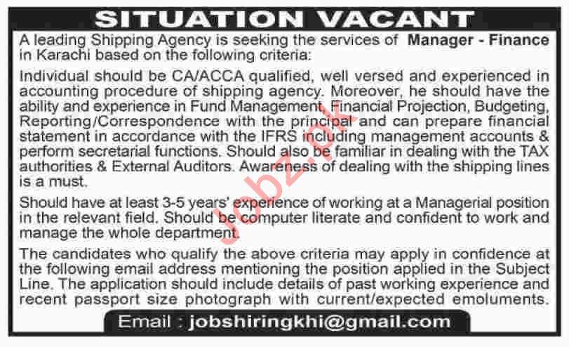 Manager Finance Jobs 2020 in Karachi