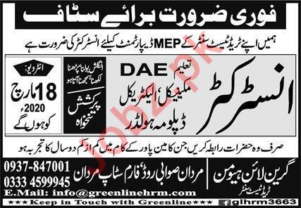 MEP Department Jobs 2020 For Instructors in Mardan KPK