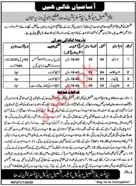 Tehsil Municipal Administration Jobs For South Waziristan