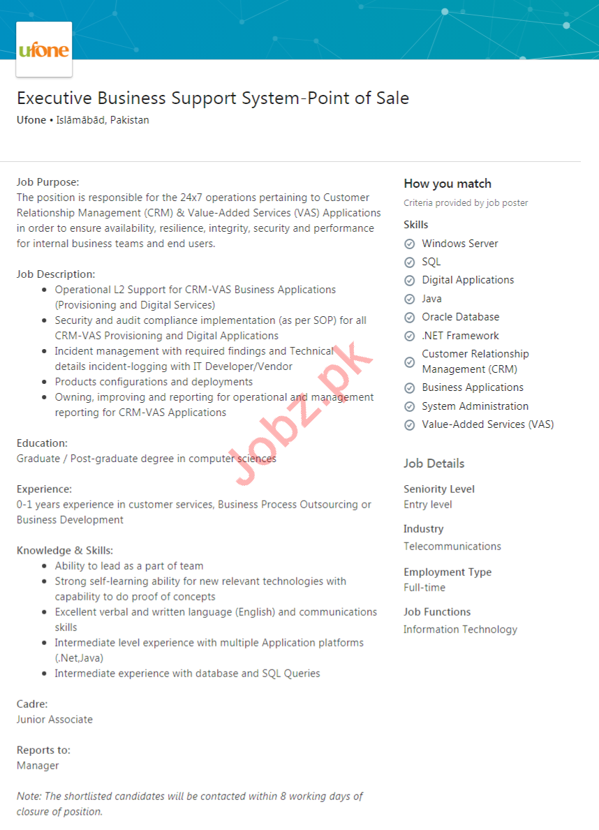 Ufone Pakistan Jobs 2020 Executive Business Support System