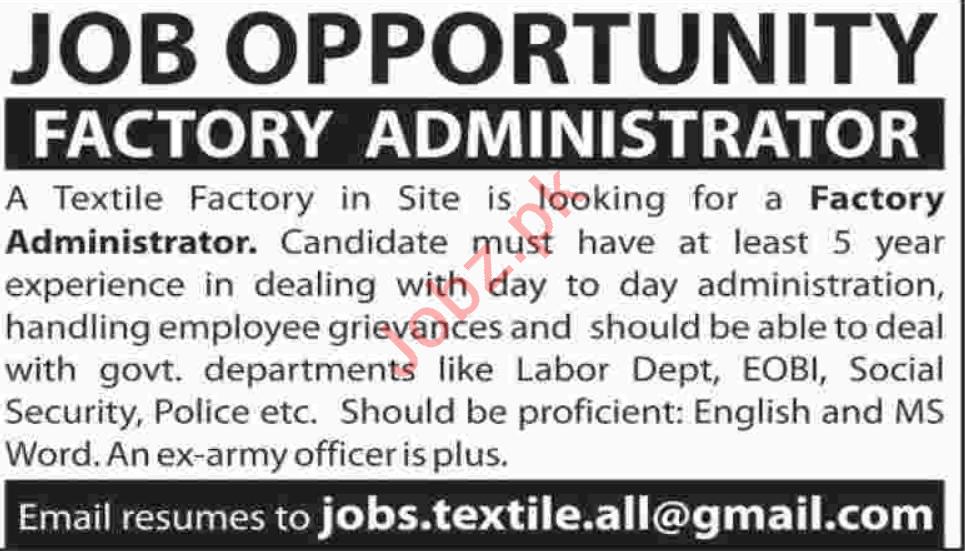 Factory Administrator Jobs 2020 in Karachi