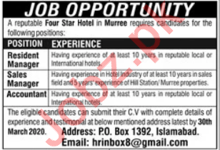 Four Star Hotel Staff Jobs 2020 In Murree