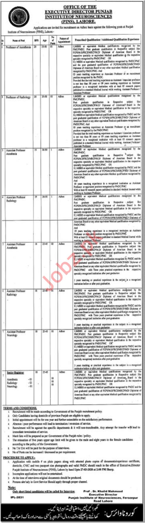 PINS Punjab Institute of Neurosciences Lahore Jobs 2020