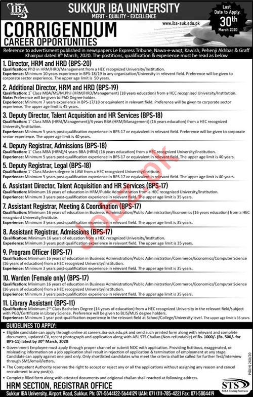 Sukkur IBA University Jobs via Siba Testing Services STS