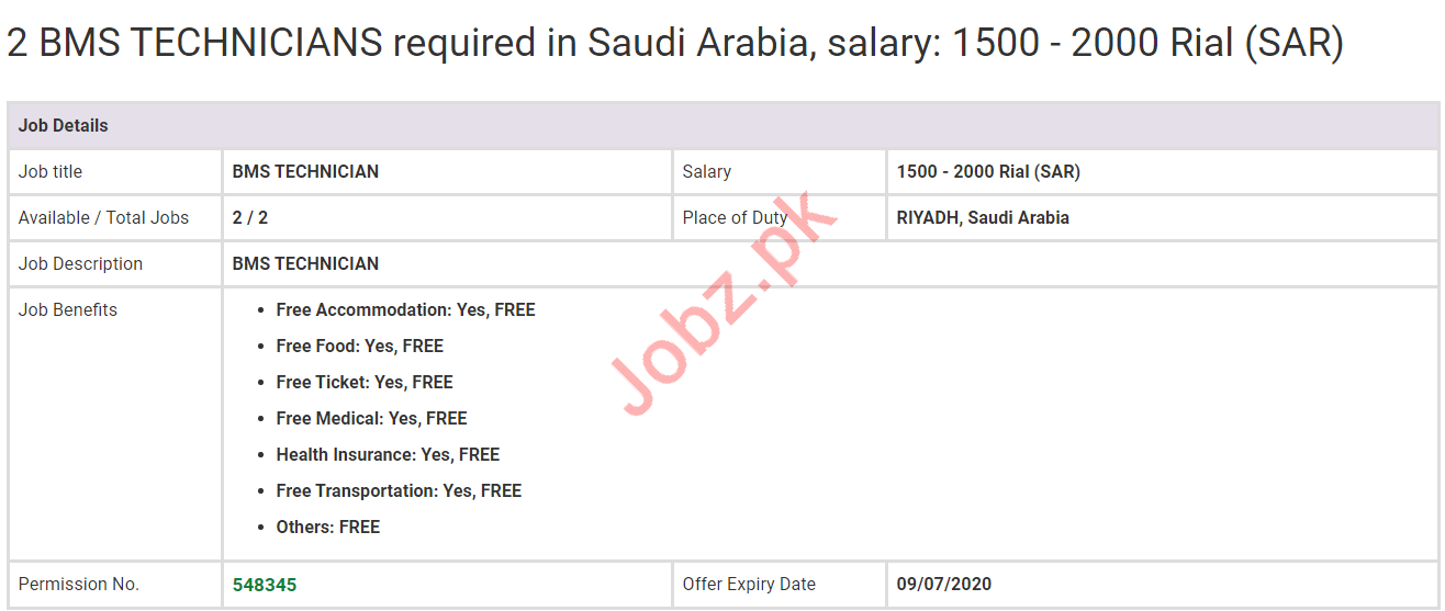BMS Technicians Jobs 2020 in Riyadh Saudi Arabia