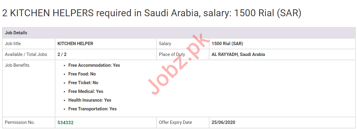 Kitchen Helpers Jobs 2020 in Al Riyadh Saudi Arabia