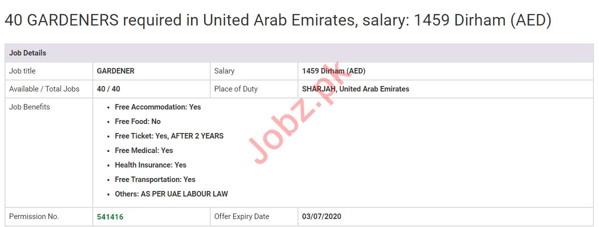 Gardeners Jobs 2020 in Sharjah United Arab Emirates UAE