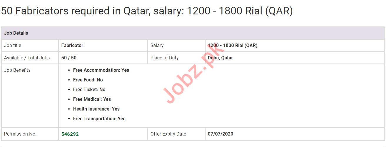 Fabricator Jobs in Doha Qatar
