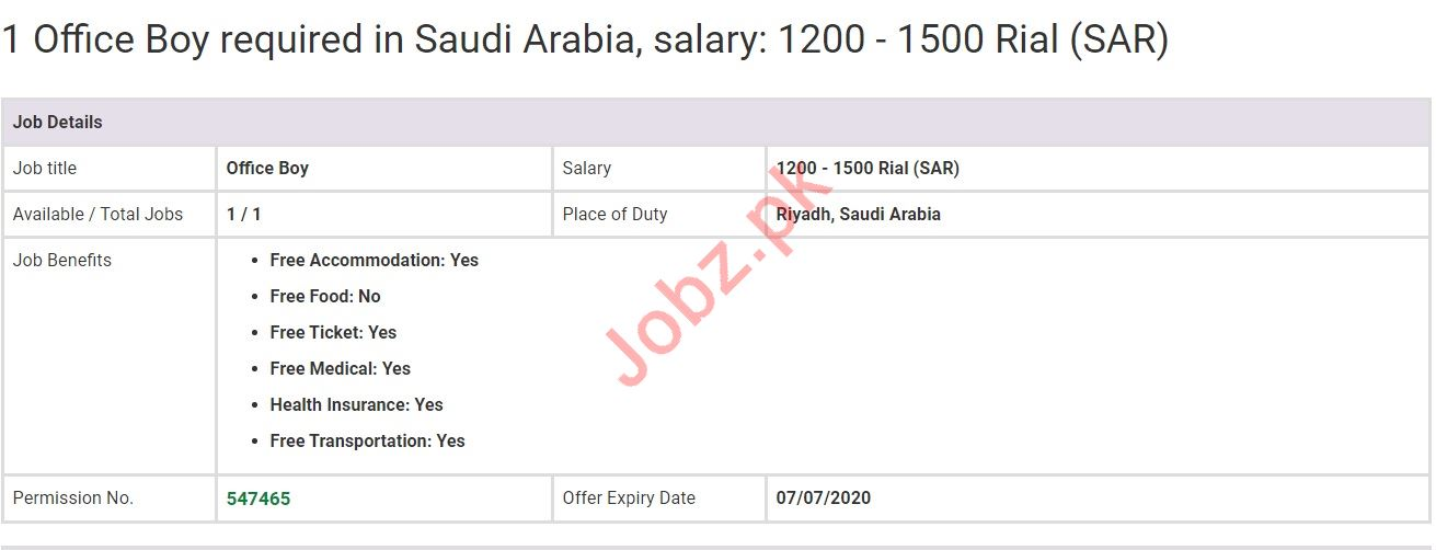 Office Boy Jobs in Saudi Arabia
