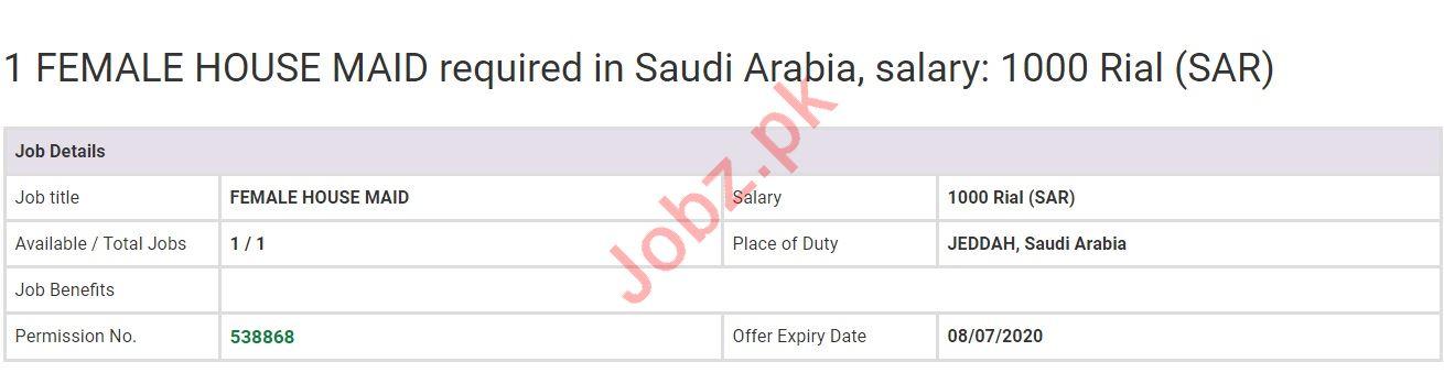 Female House Maid Jobs in Jeddah Saudi Arabia
