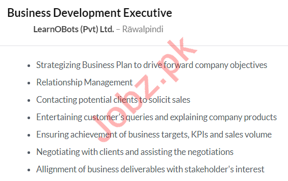 Business Development Executive Job 2020 in Rawalpindi
